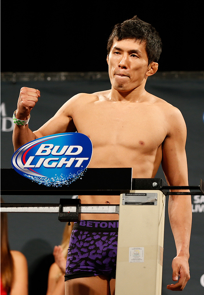 LAS VEGAS, NV - SEPTEMBER 26:  Takeya Mizugaki of Japan weighs in during the UFC 178 weigh-in at the MGM Grand Conference Center on September 26, 2014 in Las Vegas, Nevada. (Photo by Josh Hedges/Zuffa LLC/Zuffa LLC via Getty Images)