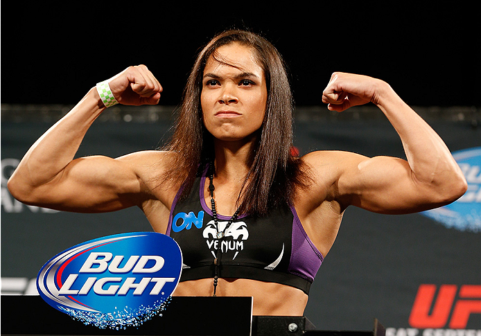 LAS VEGAS, NV - SEPTEMBER 26:  Amanda Nunes of Brazil weighs in during the UFC 178 weigh-in at the MGM Grand Conference Center on September 26, 2014 in Las Vegas, Nevada. (Photo by Josh Hedges/Zuffa LLC/Zuffa LLC via Getty Images)