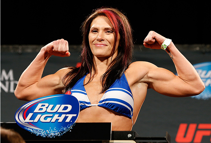 LAS VEGAS, NV - SEPTEMBER 26:  Cat Zingano weighs in during the UFC 178 weigh-in at the MGM Grand Conference Center on September 26, 2014 in Las Vegas, Nevada. (Photo by Josh Hedges/Zuffa LLC/Zuffa LLC via Getty Images)