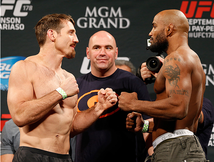 LAS VEGAS, NV - SEPTEMBER 26:  (L-R) Opponents Tim Kennedy and Yoel Romero of Cuba face off during the UFC 178 weigh-in at the MGM Grand Conference Center on September 26, 2014 in Las Vegas, Nevada. (Photo by Josh Hedges/Zuffa LLC/Zuffa LLC via Getty Imag