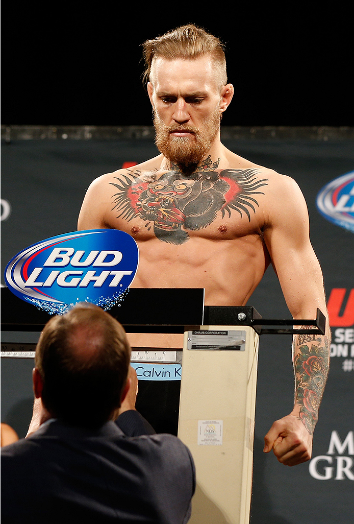 LAS VEGAS, NV - SEPTEMBER 26:  Conor McGregor of Ireland weighs in during the UFC 178 weigh-in at the MGM Grand Conference Center on September 26, 2014 in Las Vegas, Nevada. (Photo by Josh Hedges/Zuffa LLC/Zuffa LLC via Getty Images)
