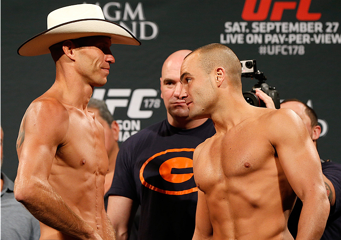 "LAS VEGAS, NV - SEPTEMBER 26:  (L-R) Opponents Donald ""Cowboy"" Cerrone and Eddie Alvarez face off during the UFC 178 weigh-in at the MGM Grand Conference Center on September 26, 2014 in Las Vegas, Nevada. (Photo by Josh Hedges/Zuffa LLC/Zuffa LLC via Gett"