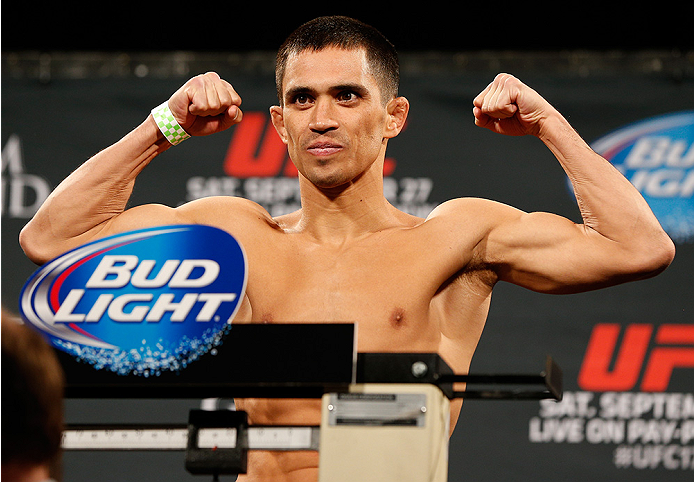 LAS VEGAS, NV - SEPTEMBER 26:  Chris Cariaso weighs in during the UFC 178 weigh-in at the MGM Grand Conference Center on September 26, 2014 in Las Vegas, Nevada. (Photo by Josh Hedges/Zuffa LLC/Zuffa LLC via Getty Images)
