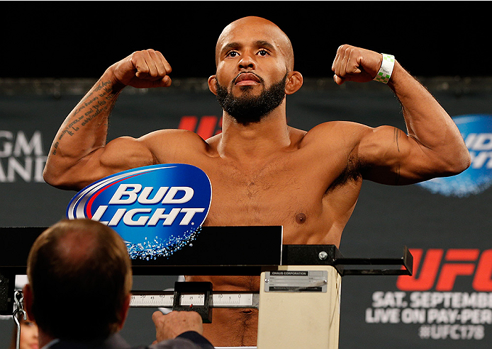 LAS VEGAS, NV - SEPTEMBER 26:  Demetrious Johnson weighs in during the UFC 178 weigh-in at the MGM Grand Conference Center on September 26, 2014 in Las Vegas, Nevada. (Photo by Josh Hedges/Zuffa LLC/Zuffa LLC via Getty Images)