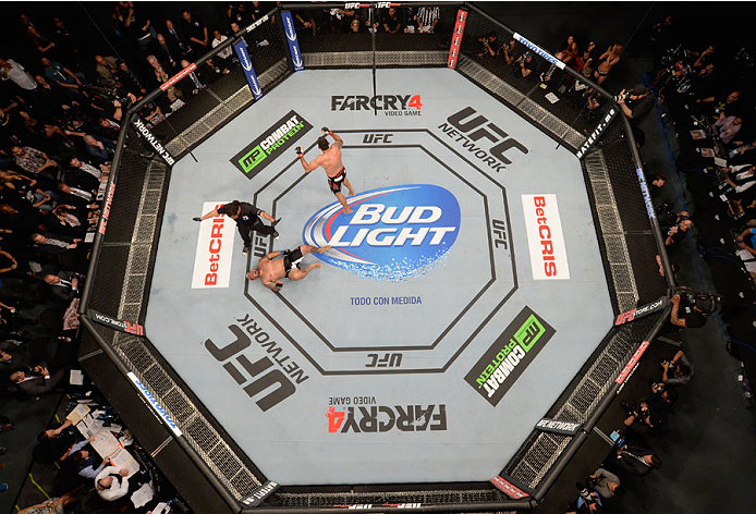 MEXICO CITY, MEXICO - NOVEMBER 15:  An overhead view of the Octagon as Fabricio Werdum celebrates after knocking out Mark Hunt in their interim UFC heavyweight championship bout during the UFC 180 event at Arena Ciudad de Mexico on November 15, 2014 in Me