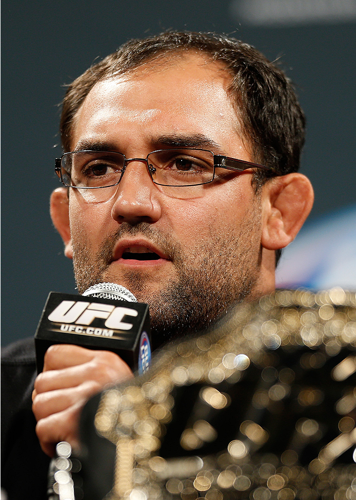 LAS VEGAS, NV - SEPTEMBER 26: UFC welterweight champion Johny Hendricks interacts with media and fans during the UFC 181 press conference at the MGM Grand Conference Center on September 26, 2014 in Las Vegas, Nevada. (Photo by Josh Hedges/Zuffa LLC/Zuffa