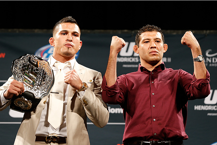 LAS VEGAS, NV - SEPTEMBER 26: (L-R) Opponents Anthony Pettis and Gilbert Melendez pose for photos during the UFC 181 press conference at the MGM Grand Conference Center on September 26, 2014 in Las Vegas, Nevada. (Photo by Josh Hedges/Zuffa LLC/Zuffa LLC