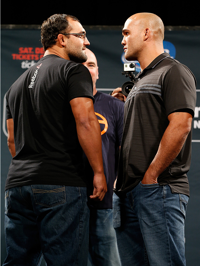 LAS VEGAS, NV - SEPTEMBER 26: (L-R) Opponents Johny Hendricks and Robbie Lawler face off during the UFC 181 press conference at the MGM Grand Conference Center on September 26, 2014 in Las Vegas, Nevada. (Photo by Josh Hedges/Zuffa LLC/Zuffa LLC via Getty