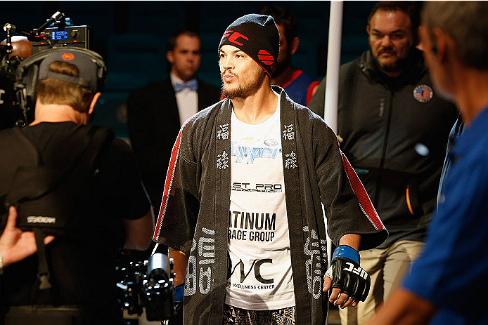 LAS VEGAS, NV - MAY 23:  Leo Kuntz walks to the Octagon to face Islam Makhachev of Russia in their lightweight bout during the UFC 187 event at the MGM Grand Garden Arena on May 23, 2015 in Las Vegas, Nevada.  (Photo by Christian Petersen/Zuffa LLC/Zuffa