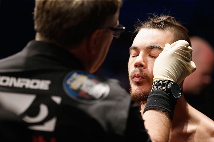 LAS VEGAS, NV - MAY 23:  Leo Kuntz prepares to face Islam Makhachev of Russia  in their lightweight bout during the UFC 187 event at the MGM Grand Garden Arena on May 23, 2015 in Las Vegas, Nevada.  (Photo by Christian Petersen/Zuffa LLC/Zuffa LLC via Get