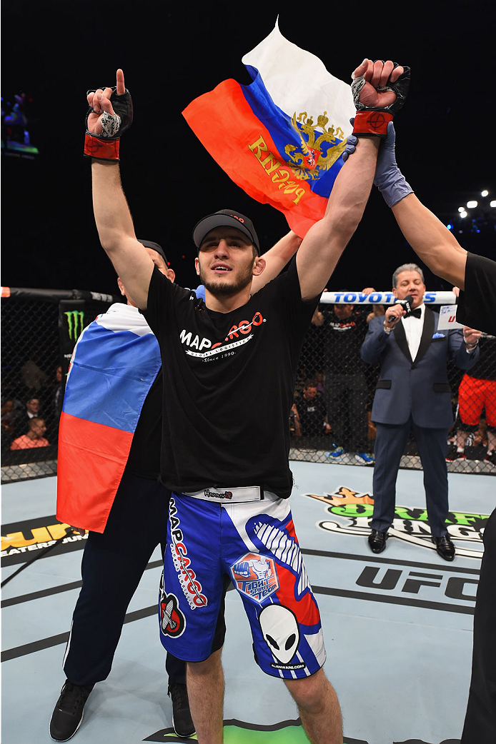 LAS VEGAS, NV - MAY 23:  Islam Makhachev of Russia reacts to his victory over Leo Kuntz in their lightweight bout during the UFC 187 event at the MGM Grand Garden Arena on May 23, 2015 in Las Vegas, Nevada.  (Photo by Josh Hedges/Zuffa LLC/Zuffa LLC via G