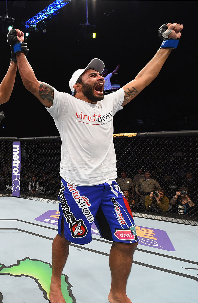 LAS VEGAS, NV - MAY 23:  Rafael Natal of Brazil reacts to his victory over Uriah Hall in their middleweight bout during the UFC 187 event at the MGM Grand Garden Arena on May 23, 2015 in Las Vegas, Nevada.  (Photo by Josh Hedges/Zuffa LLC/Zuffa LLC via Ge