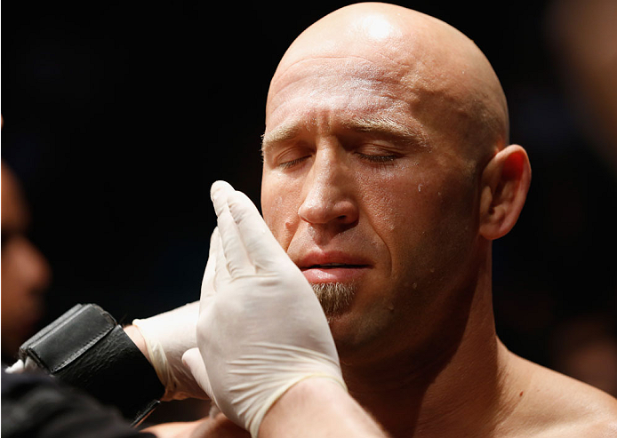 LAS VEGAS, NV - MAY 23:  Josh Burkman prepares to face Dong Hyun Kim in their welterweight bout during the UFC 187 event at the MGM Grand Garden Arena on May 23, 2015 in Las Vegas, Nevada.  (Photo by Christian Petersen/Zuffa LLC/Zuffa LLC via Getty Images
