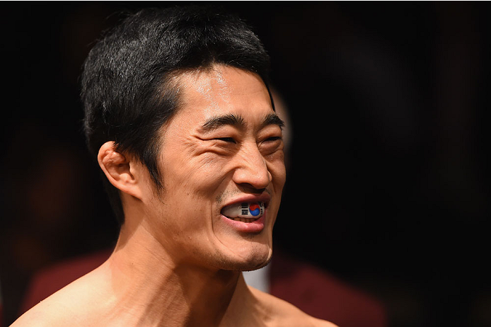 LAS VEGAS, NV - MAY 23:  Dong Hyun Kim prepares to face Josh Burkman in their welterweight bout during the UFC 187 event at the MGM Grand Garden Arena on May 23, 2015 in Las Vegas, Nevada.  (Photo by Josh Hedges/Zuffa LLC/Zuffa LLC via Getty Images)