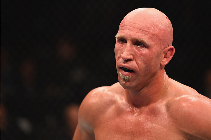 LAS VEGAS, NV - MAY 23:  Josh Burkman waits for round three to start in their welterweight bout during the UFC 187 event at the MGM Grand Garden Arena on May 23, 2015 in Las Vegas, Nevada.  (Photo by Josh Hedges/Zuffa LLC/Zuffa LLC via Getty Images)