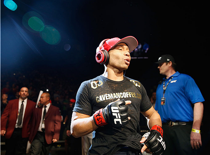 LAS VEGAS, NV - MAY 23:  John Dodson walks to the Octagon to face Zach Makovsky in their flyweight bout during the UFC 187 event at the MGM Grand Garden Arena on May 23, 2015 in Las Vegas, Nevada.  (Photo by Christian Petersen/Zuffa LLC/Zuffa LLC via Gett
