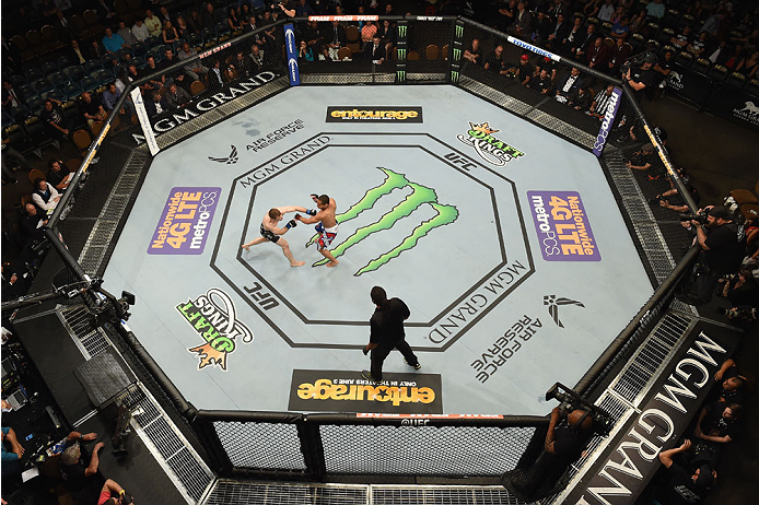 LAS VEGAS, NV - MAY 23:  (L-R) Zach Makovsky punches John Dodson in their flyweight bout during the UFC 187 event at the MGM Grand Garden Arena on May 23, 2015 in Las Vegas, Nevada.  (Photo by Josh Hedges/Zuffa LLC/Zuffa LLC via Getty Images)