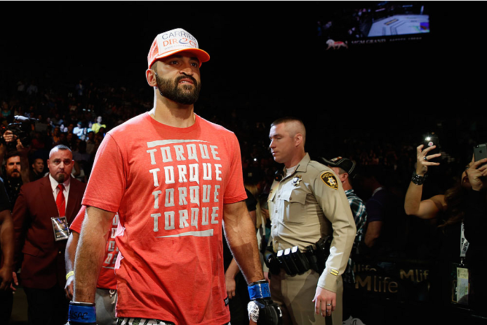 LAS VEGAS, NV - MAY 23:  Andrei Arlovski walks to the Octagon to face Travis Browne in their heavyweight bout during the UFC 187 event at the MGM Grand Garden Arena on May 23, 2015 in Las Vegas, Nevada.  (Photo by Christian Petersen/Zuffa LLC/Zuffa LLC vi