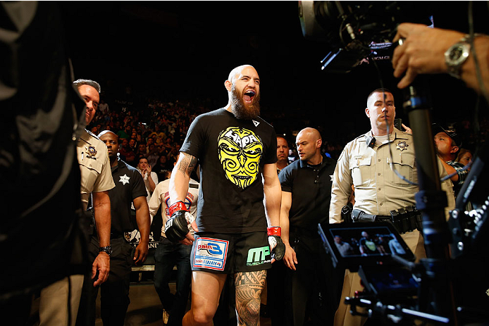 LAS VEGAS, NV - MAY 23:  Travis Browne walks to the Octagon to face Andrei Arlovski in their heavyweight bout during the UFC 187 event at the MGM Grand Garden Arena on May 23, 2015 in Las Vegas, Nevada.  (Photo by Christian Petersen/Zuffa LLC/Zuffa LLC vi