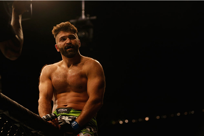 LAS VEGAS, NV - MAY 23:  Andrei Arlovski reacts to his victory over Travis Browne in their heavyweight bout during the UFC 187 event at the MGM Grand Garden Arena on May 23, 2015 in Las Vegas, Nevada.  (Photo by Christian Petersen/Zuffa LLC/Zuffa LLC via