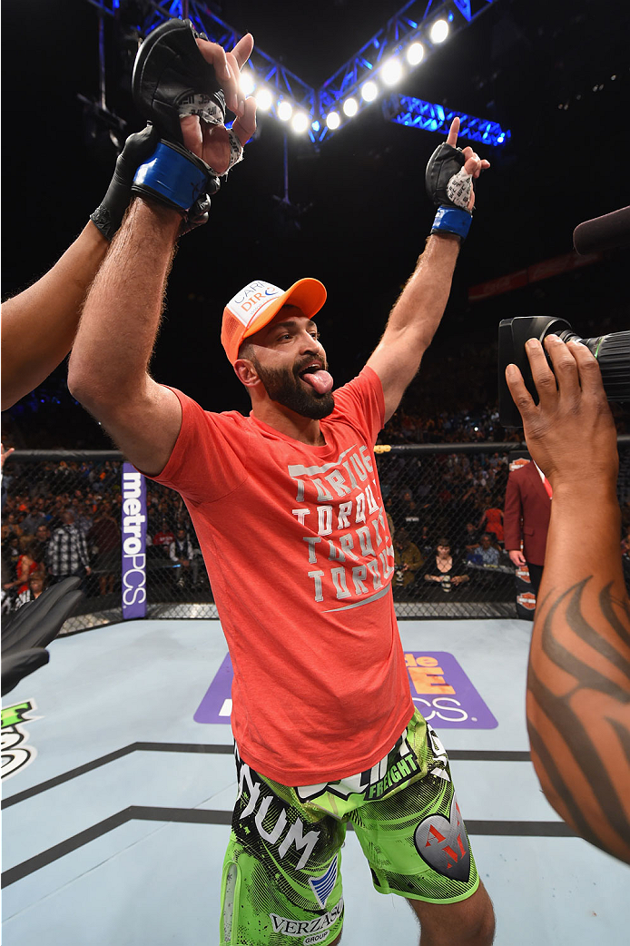 LAS VEGAS, NV - MAY 23:  Andrei Arlovski reacts to his victory over Travis Browne in their heavyweight bout during the UFC 187 event at the MGM Grand Garden Arena on May 23, 2015 in Las Vegas, Nevada.  (Photo by Josh Hedges/Zuffa LLC/Zuffa LLC via Getty I