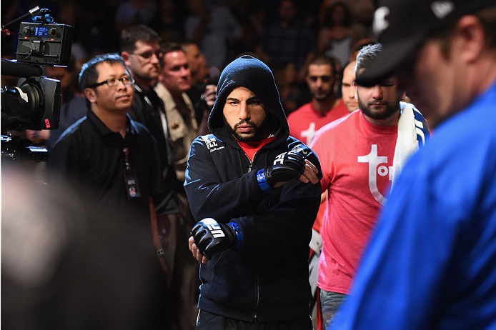 LAS VEGAS, NV - MAY 23:  John Makdessi of Canada prepares to face Donald Cerrone  in their lightweight bout during the UFC 187 event at the MGM Grand Garden Arena on May 23, 2015 in Las Vegas, Nevada.  (Photo by Josh Hedges/Zuffa LLC/Zuffa LLC via Getty I