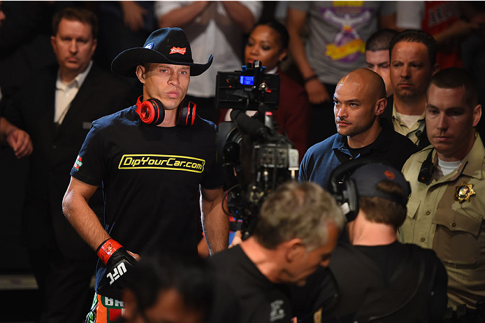 LAS VEGAS, NV - MAY 23:  Donald Cerrone walks to the Octagon to face John Makdessi of Canada in their lightweight bout during the UFC 187 event at the MGM Grand Garden Arena on May 23, 2015 in Las Vegas, Nevada.  (Photo by Josh Hedges/Zuffa LLC/Zuffa LLC