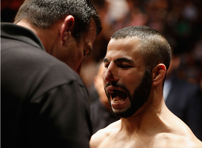 LAS VEGAS, NV - MAY 23:  John Makdessi of Canada prepares to face Donald Cerrone  in their lightweight bout during the UFC 187 event at the MGM Grand Garden Arena on May 23, 2015 in Las Vegas, Nevada.  (Photo by Christian Petersen/Zuffa LLC/Zuffa LLC via