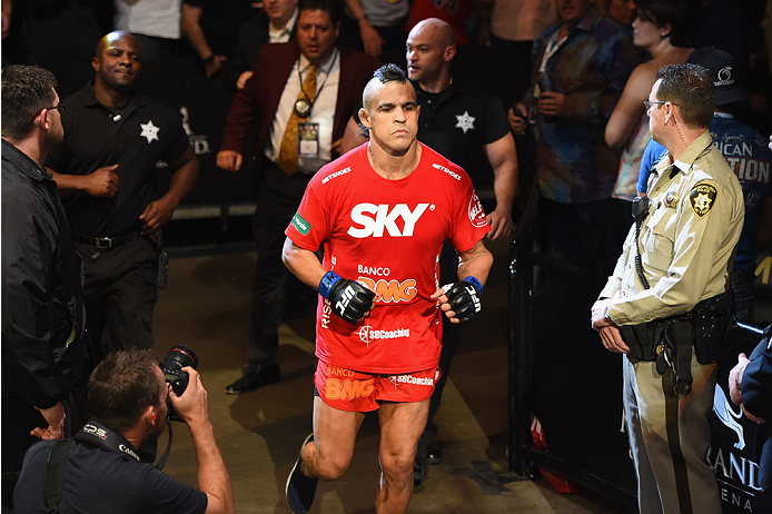 LAS VEGAS, NV - MAY 23:  Vitor Belfort of Brazil prepares to face Chris Weidman in their UFC middleweight championship bout during the UFC 187 event at the MGM Grand Garden Arena on May 23, 2015 in Las Vegas, Nevada.  (Photo by Josh Hedges/Zuffa LLC/Zuffa