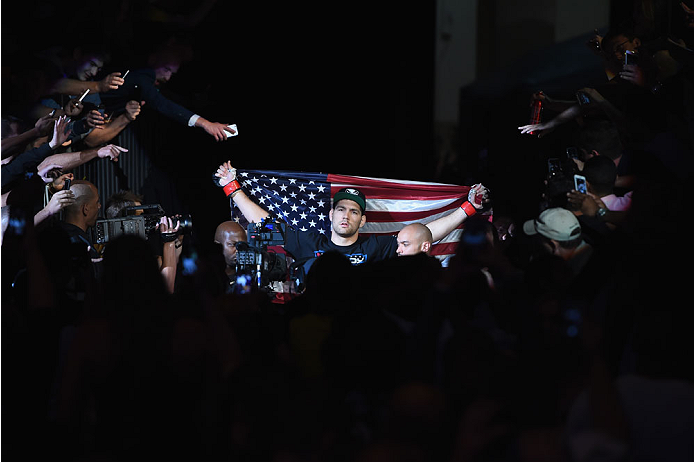 LAS VEGAS, NV - MAY 23:  Chris Weidman prepares to face Vitor Belfort of Brazil in their UFC middleweight championship bout during the UFC 187 event at the MGM Grand Garden Arena on May 23, 2015 in Las Vegas, Nevada.  (Photo by Josh Hedges/Zuffa LLC/Zuffa