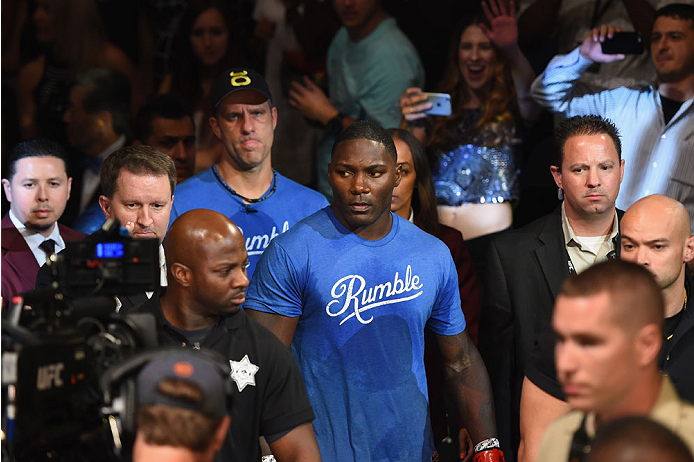 LAS VEGAS, NV - MAY 23:  Anthony 'Rumble' Johnson enters the arena before facing Daniel Cormier in their UFC light heavyweight championship bout during the UFC 187 event at the MGM Grand Garden Arena on May 23, 2015 in Las Vegas, Nevada.  (Photo by Josh H