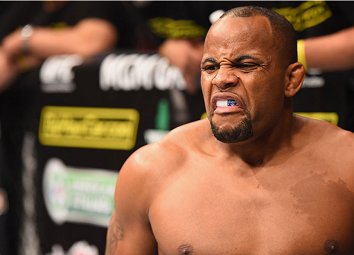 LAS VEGAS, NV - MAY 23:  Daniel Cormier prepares to face Anthony Johnson in their UFC light heavyweight championship bout during the UFC 187 event at the MGM Grand Garden Arena on May 23, 2015 in Las Vegas, Nevada.  (Photo by Josh Hedges/Zuffa LLC/Zuffa L