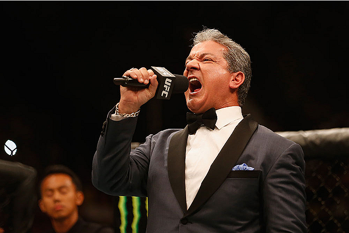 LAS VEGAS, NV - MAY 23:  Bruce Buffer introduces Anthony Johnson and Daniel Cormier before their UFC light heavyweight championship bout during the UFC 187 event at the MGM Grand Garden Arena on May 23, 2015 in Las Vegas, Nevada.  (Photo by Christian Pete