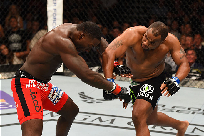 LAS VEGAS, NV - MAY 23:  (R-L) Daniel Cormier punches Anthony Johnson in their UFC light heavyweight championship bout during the UFC 187 event at the MGM Grand Garden Arena on May 23, 2015 in Las Vegas, Nevada.  (Photo by Josh Hedges/Zuffa LLC/Zuffa LLC