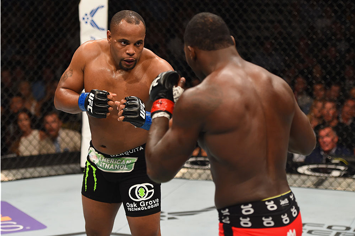 LAS VEGAS, NV - MAY 23:  (L-R) Daniel Cormier and Anthony Johnson face off in their UFC light heavyweight championship bout during the UFC 187 event at the MGM Grand Garden Arena on May 23, 2015 in Las Vegas, Nevada.  (Photo by Josh Hedges/Zuffa LLC/Zuffa