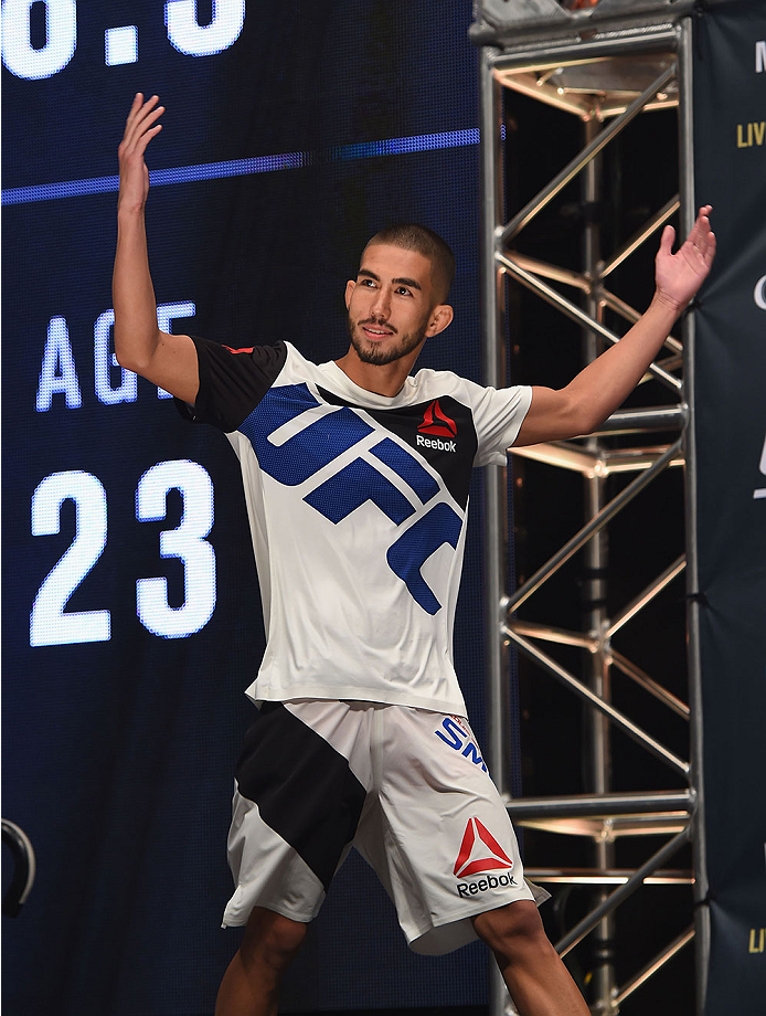 LAS VEGAS, NV - JULY 10:  Louis Smolka walks onto the stage during the UFC 189 weigh-in inside MGM Grand Garden Arena on July 10, 2015 in Las Vegas, Nevada.  (Photo by Josh Hedges/Zuffa LLC/Zuffa LLC via Getty Images)