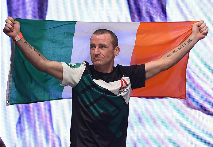 LAS VEGAS, NV - JULY 10:  Neil Seery walks onto the stage during the UFC 189 weigh-in inside MGM Grand Garden Arena on July 10, 2015 in Las Vegas, Nevada.  (Photo by Josh Hedges/Zuffa LLC/Zuffa LLC via Getty Images)