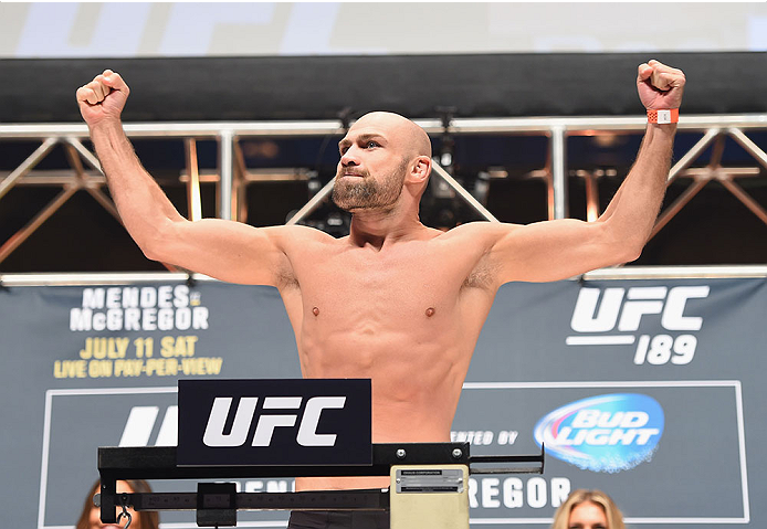 LAS VEGAS, NV - JULY 10:  Cathal Pendred steps onto the scale during the UFC 189 weigh-in inside MGM Grand Garden Arena on July 10, 2015 in Las Vegas, Nevada.  (Photo by Josh Hedges/Zuffa LLC/Zuffa LLC via Getty Images)