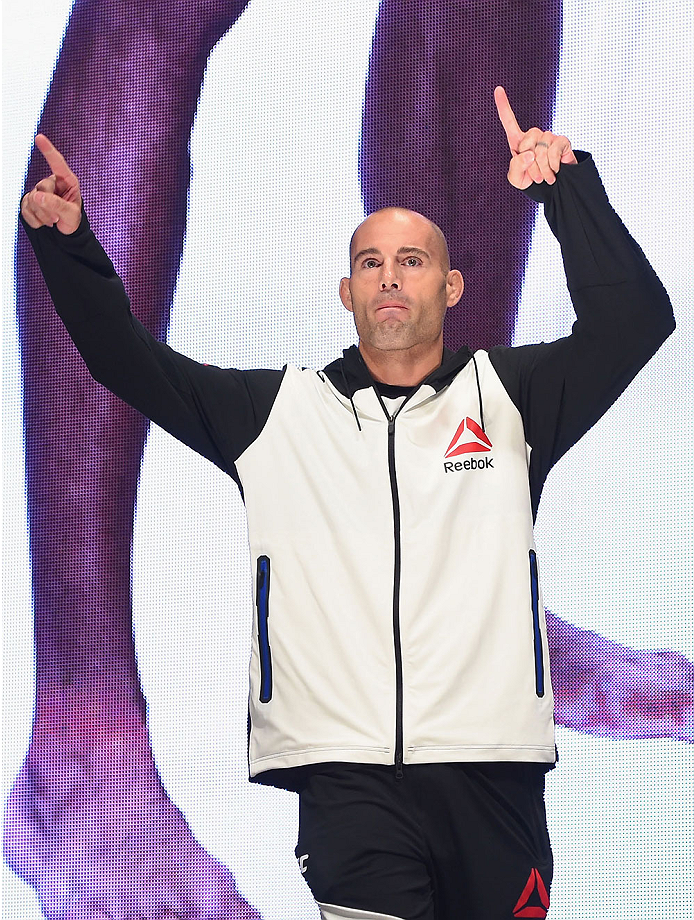 LAS VEGAS, NV - JULY 10:  Mike Swick walks onto the stage during the UFC 189 weigh-in inside MGM Grand Garden Arena on July 10, 2015 in Las Vegas, Nevada.  (Photo by Josh Hedges/Zuffa LLC/Zuffa LLC via Getty Images)