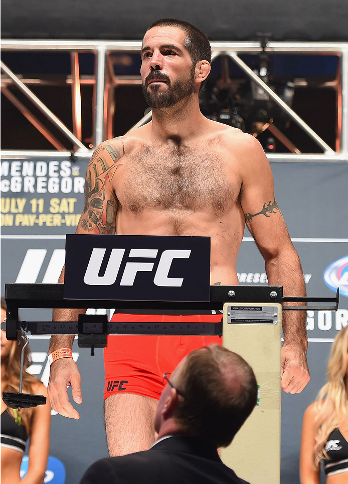LAS VEGAS, NV - JULY 10:  Matt Brown steps onto the scale during the UFC 189 weigh-in inside MGM Grand Garden Arena on July 10, 2015 in Las Vegas, Nevada.  (Photo by Josh Hedges/Zuffa LLC/Zuffa LLC via Getty Images)