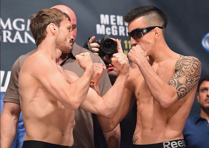 LAS VEGAS, NV - JULY 10:  (L-R) Brad Pickett and Thomas Almeida during the UFC 189 weigh-in inside MGM Grand Garden Arena on July 10, 2015 in Las Vegas, Nevada.  (Photo by Josh Hedges/Zuffa LLC/Zuffa LLC via Getty Images)