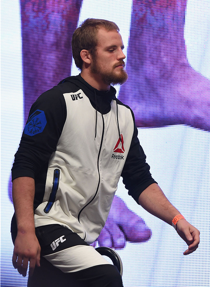 LAS VEGAS, NV - JULY 10:  Gunnar Nelson walks onto the stage during the UFC 189 weigh-in inside MGM Grand Garden Arena on July 10, 2015 in Las Vegas, Nevada.  (Photo by Josh Hedges/Zuffa LLC/Zuffa LLC via Getty Images)