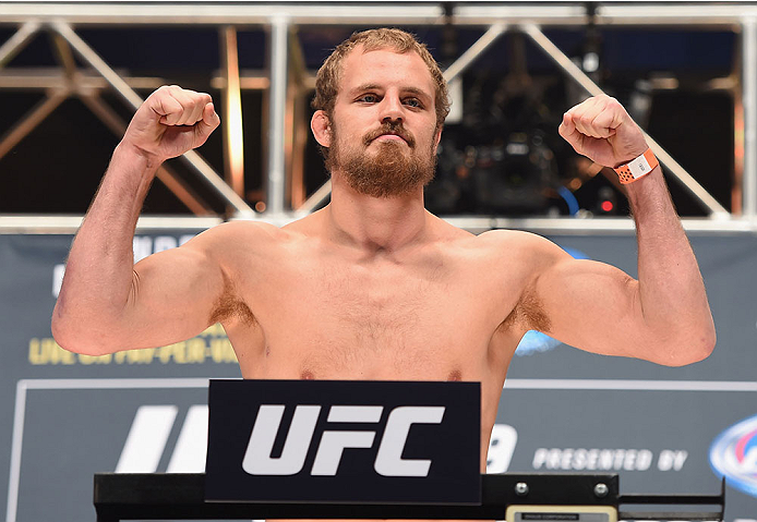 LAS VEGAS, NV - JULY 10:  Gunnar Nelson steps onto the scale during the UFC 189 weigh-in inside MGM Grand Garden Arena on July 10, 2015 in Las Vegas, Nevada.  (Photo by Josh Hedges/Zuffa LLC/Zuffa LLC via Getty Images)
