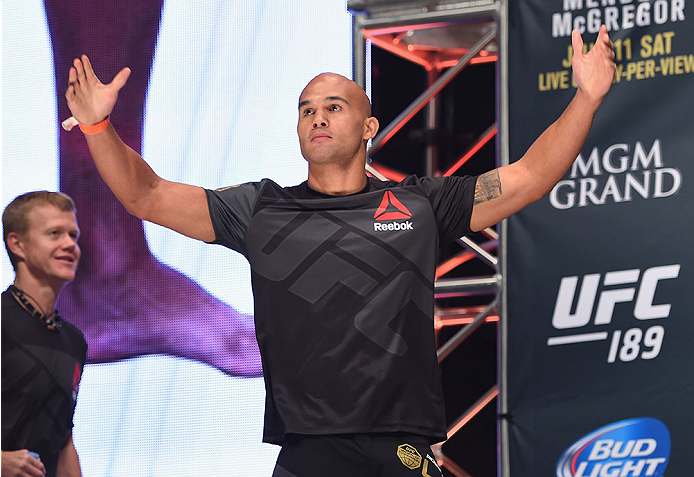LAS VEGAS, NV - JULY 10:  UFC welterweight champion Robbie Lawler walks onto the stage during the UFC 189 weigh-in inside MGM Grand Garden Arena on July 10, 2015 in Las Vegas, Nevada.  (Photo by Josh Hedges/Zuffa LLC/Zuffa LLC via Getty Images)