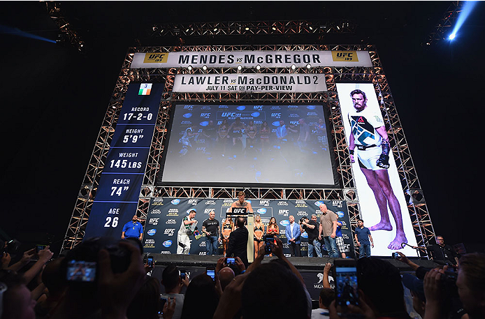 LAS VEGAS, NV - JULY 10:  Conor McGregor steps onto the scale during the UFC 189 weigh-in inside MGM Grand Garden Arena on July 10, 2015 in Las Vegas, Nevada.  (Photo by Josh Hedges/Zuffa LLC/Zuffa LLC via Getty Images)