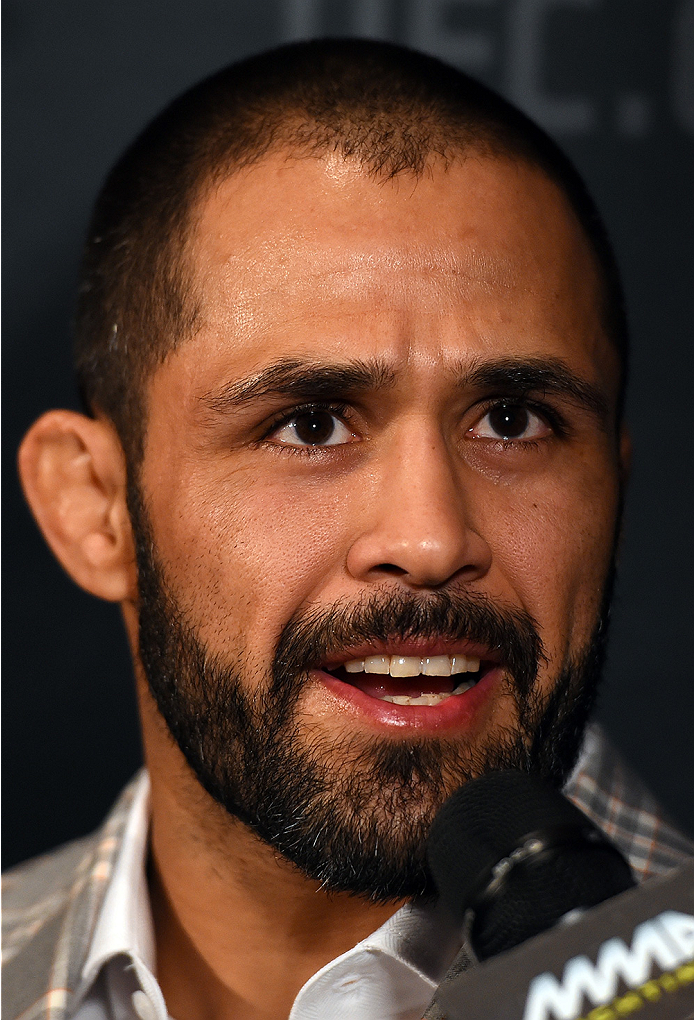 LAS VEGAS, NV - DECEMBER 09:  Frankie Saenz interacts with media during the UFC Ultimate Media Day at MGM Grand Hotel & Casino on December 9, 2015 in Las Vegas, Nevada.  (Photo by Josh Hedges/Zuffa LLC/Zuffa LLC via Getty Images)