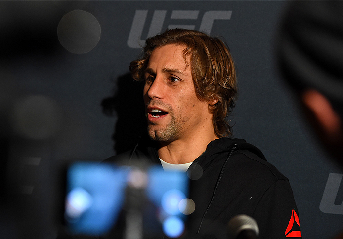 LAS VEGAS, NV - DECEMBER 09:  Urijah Faber interacts with media during the UFC Ultimate Media Day at MGM Grand Hotel & Casino on December 9, 2015 in Las Vegas, Nevada.  (Photo by Josh Hedges/Zuffa LLC/Zuffa LLC via Getty Images)