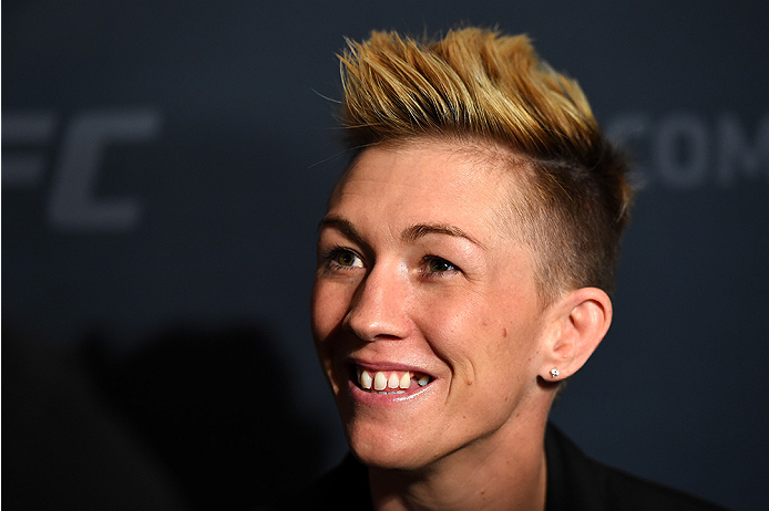 LAS VEGAS, NV - DECEMBER 09:  Jocelyn Jones-Lybarger interacts with media during the UFC Ultimate Media Day at MGM Grand Hotel & Casino on December 9, 2015 in Las Vegas, Nevada.  (Photo by Josh Hedges/Zuffa LLC/Zuffa LLC via Getty Images)