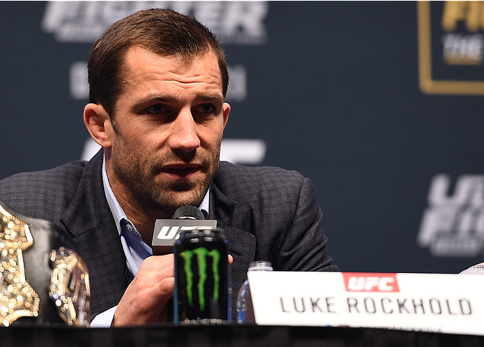 LAS VEGAS, NV - DECEMBER 09:  Luke Rockhold interacts with media during the UFC Press Conference inside MGM Grand Garden Arena on December 9, 2015 in Las Vegas, Nevada.  (Photo by Josh Hedges/Zuffa LLC/Zuffa LLC via Getty Images)