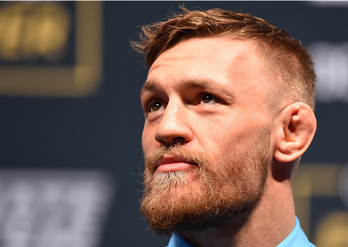 LAS VEGAS, NV - DECEMBER 09:  Conor McGregor of Ireland interacts with media during the UFC Press Conference inside MGM Grand Garden Arena on December 9, 2015 in Las Vegas, Nevada.  (Photo by Josh Hedges/Zuffa LLC/Zuffa LLC via Getty Images)